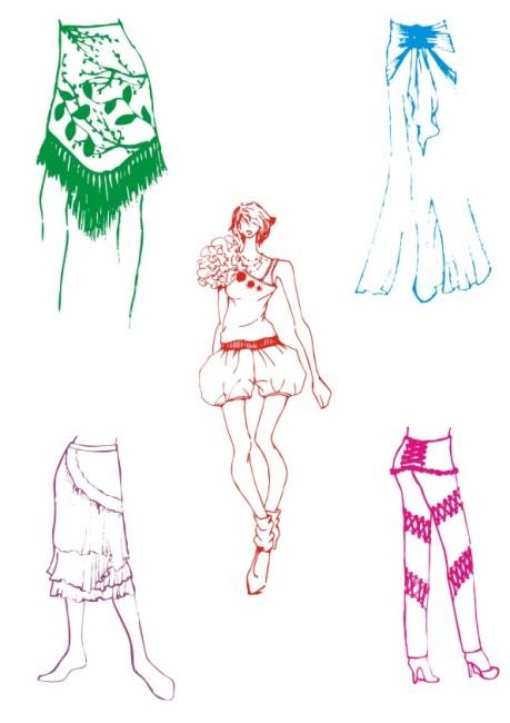 时尚裙子简笔画步骤