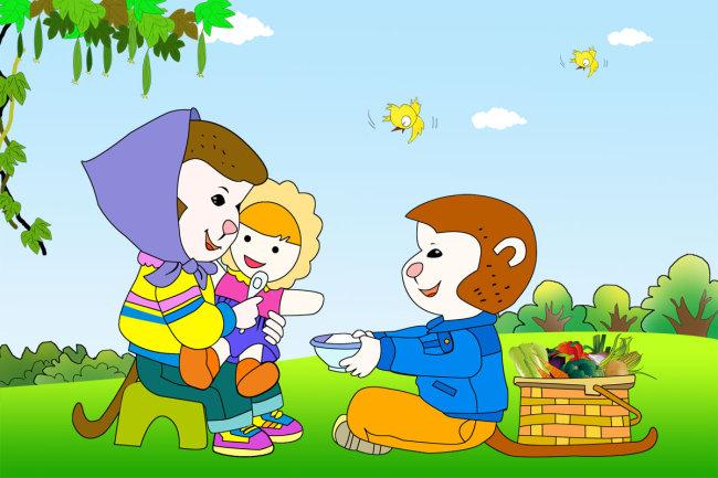 幼儿园素材 幼儿园卡通 幼儿园简介 幼儿园卡通宣传栏 卡通动物 蓝天