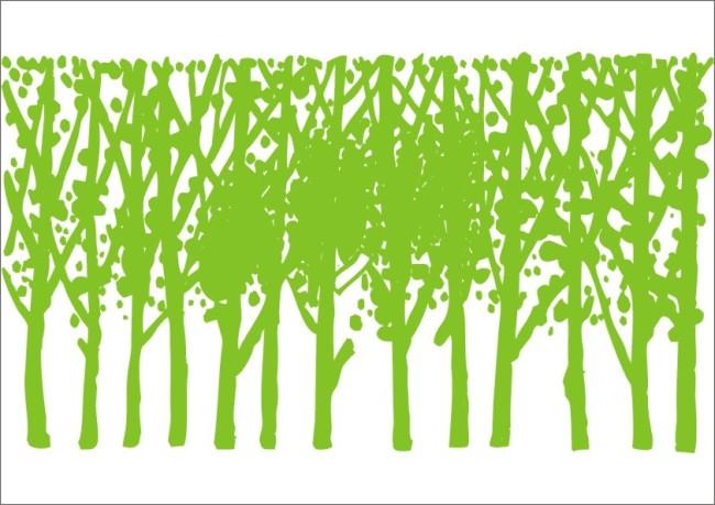 环保绿化手绘黑白画
