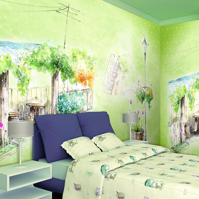 【tif不分】绿色清新风景电视背景墙水彩画