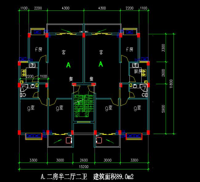 89平米多层住宅户型CAD图纸