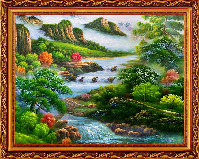 旭日东升 风景如画 客厅画 大厅画 高山流水 山水风景 流水聚财 源远