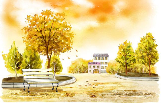 【psd】秋天风景_图片编号:wli10165640_绘画_插画