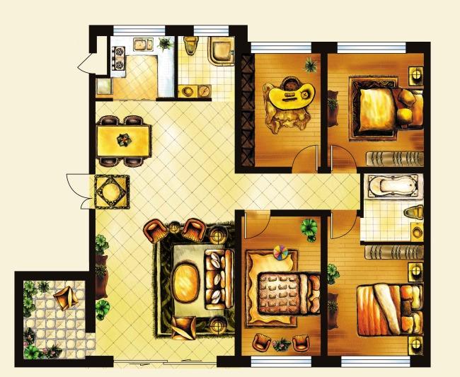 【psd】彩铅手绘分层户型图家具