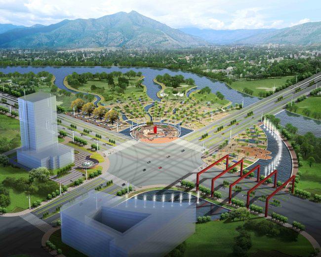 滨水公园广场景观规划设计效果图