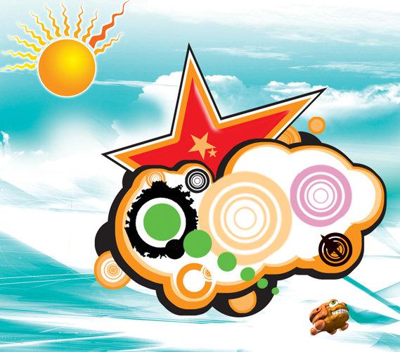 > 潮流花纹  关键词: 潮流花纹 分层 画册 海报 青蛙 五角星 星星 星