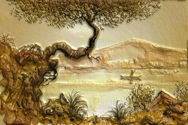 山水画电视墙 风景画装饰墙 卧室 大厅 客厅 说明:3d硅藻泥效果日落西