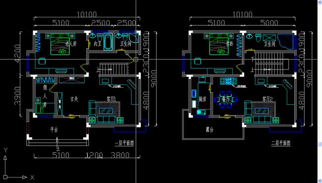 别墅建筑CAD平面图纸