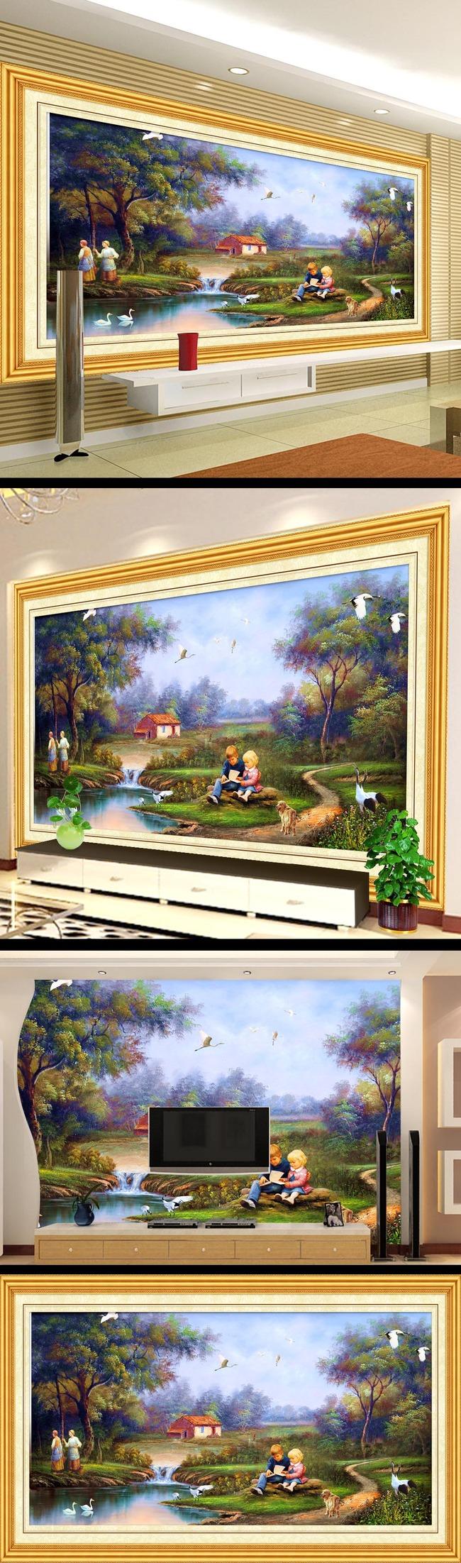 【】树林小溪风景画电视墙设计