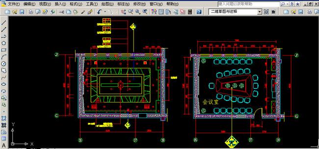 关键词: 会议室平面布置图 会议室天花布置图 cad图 cad平面图 施工