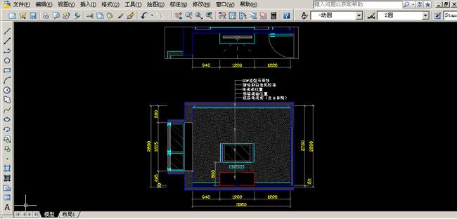 > 电视背景墙cad图纸设计附材质说明  关键词: 主卧电视背景墙立面图