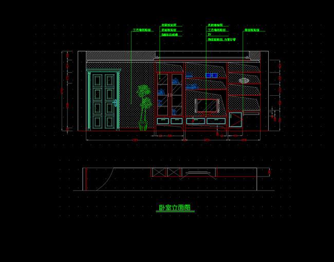 电视柜剖面图 电视柜详图 大样图 卧室电视背景墙cad图设计 卧室立面