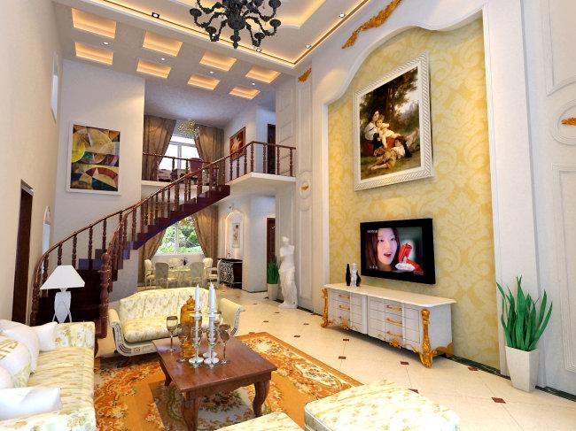 家装 欧式风格 室内效果图 客厅效果图 餐厅效果图 电视背景墙 隔断