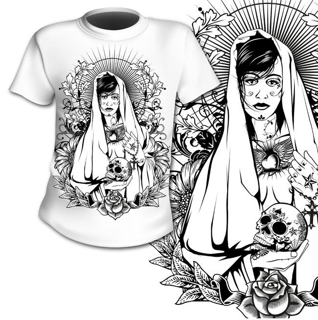 t恤设计图 t恤图案 服饰图案 图案 图案素材 素材 说明:黑白插画图案