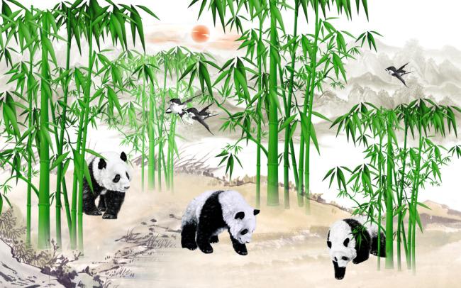 绘画 > 竹子熊猫风景国画图片  关键词: 熊猫竹子国画图片 山水国画