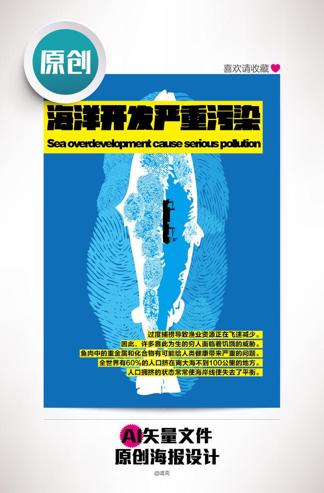 版式 说明:警惕海洋污染原创公益广告设计