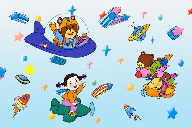 幼儿园素材图片 幼儿园 幼儿园展板 幼儿园 星星 飞机 飞船 卡通人物