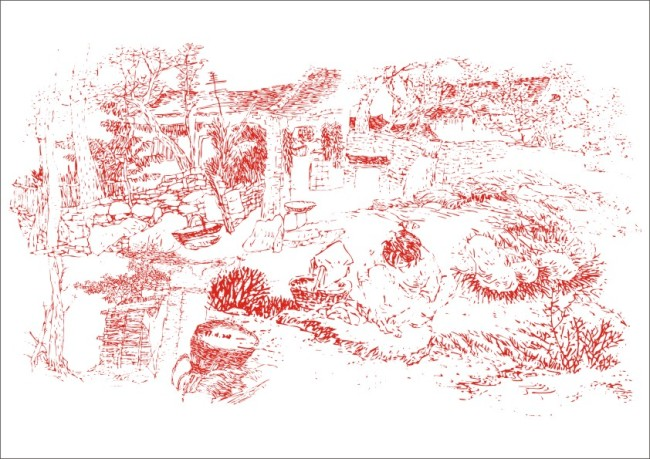 关键词: 绿草小农舍-手描画 风景画 矢量 素材 白描画 素描画 手绘画