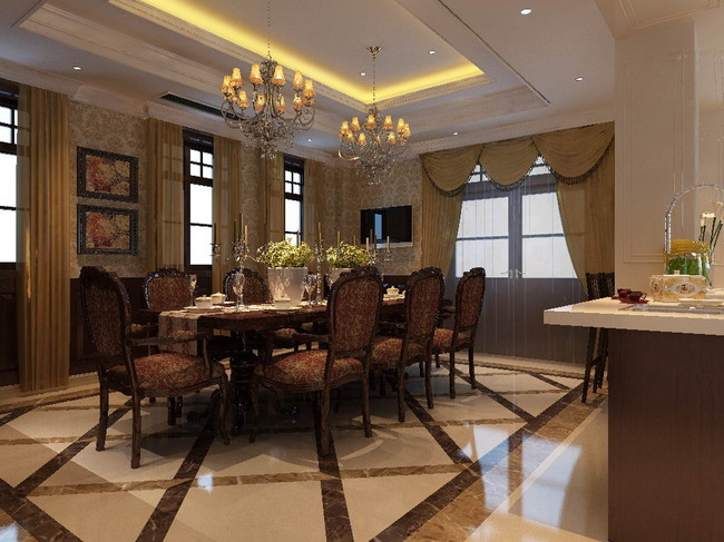 家装设计 套房 家装 简约风格 现代风格 欧式风 说明:欧式风格餐厅