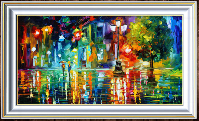 【】小城街道的雨夜风景油画