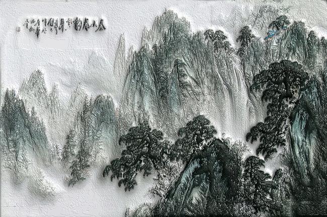 山水画电视墙 风景画装饰墙 卧室 大厅 客厅背景画 说明:3d硅藻泥效果