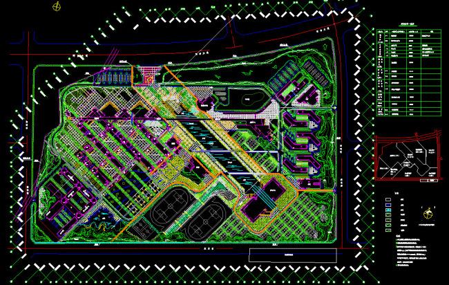 【dwg】某大學校園景觀設計總平面圖
