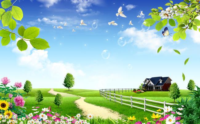 关键词: 风景画 蓝天 白云 绿地 草地 蝴蝶 牡丹 花草 葵花 树木