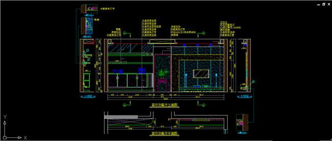 【】客厅电视背景立面图平面图剖面图节点图设计
