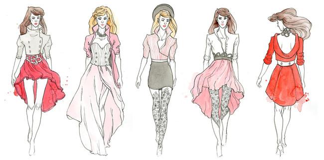 女装 线描 创意 模特 素描 速写 服装设计师 设计搞 说明:女装手绘搞图片