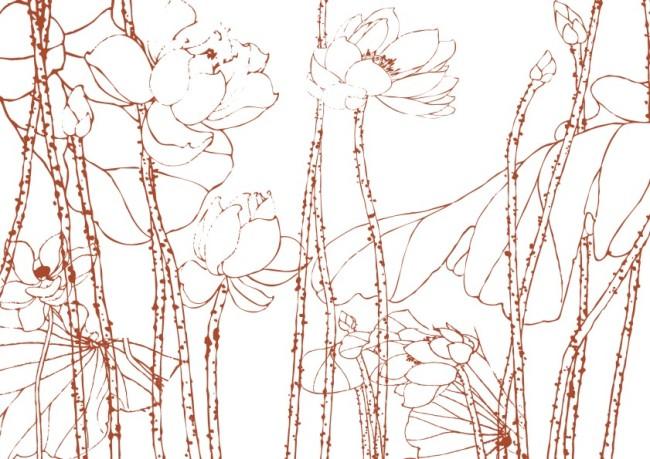 【cdr】荷子花叶-美术画图片