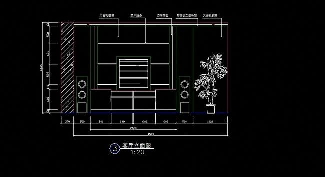 【】电视柜背景墙客厅立面图cad图纸