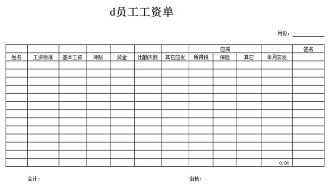 工厂员工工资单表格_工资表格式范本图片展示_工资表格式范本相关图片下载