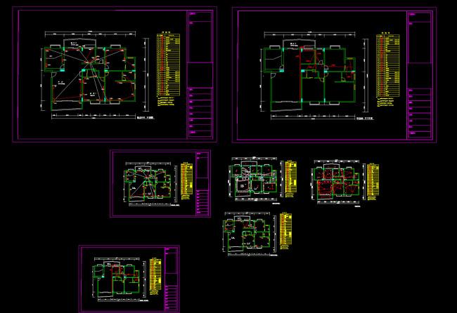 电路图 设计图 cad 图纸 源文件 素材 电气 施工图 说明:家装电路图