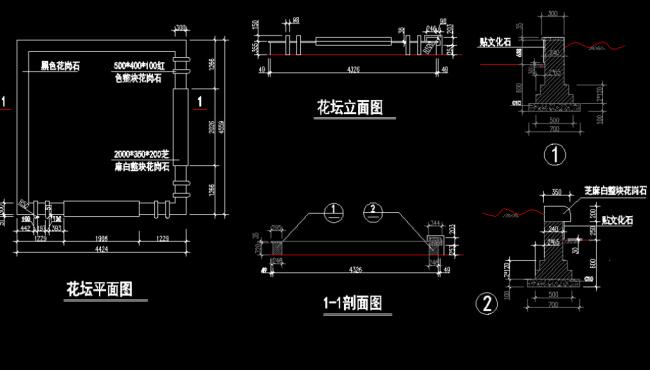 【dwg】露台花坛设计图