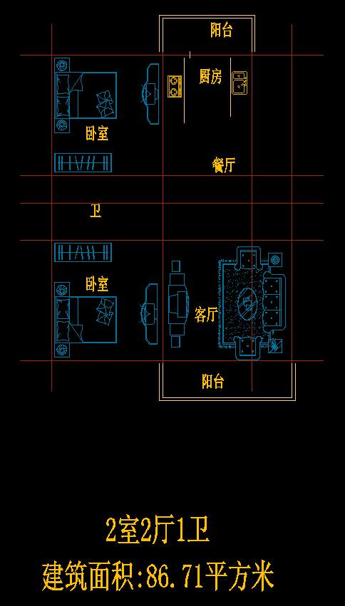 2室2厅1卫户型图CAD图纸三