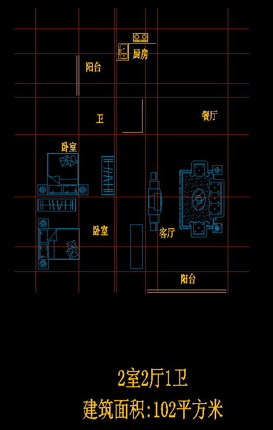 2室2厅1卫户型图CAD图纸二