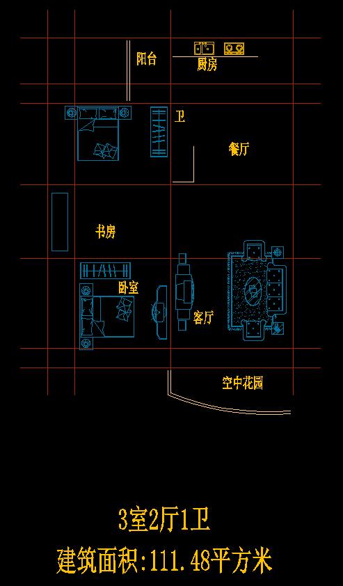 3室2厅1卫户型图cad图纸一