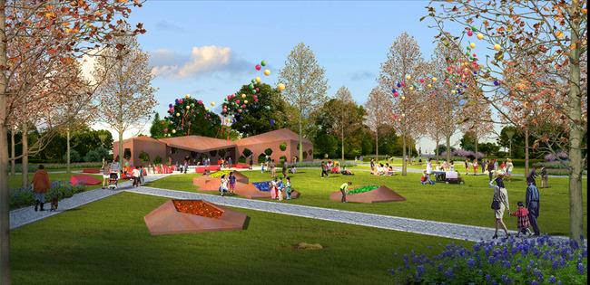 商业地产 小区 入口 园林 景观 绿化 设计 效果图 说明:景区广场效果