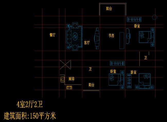 4室2厅2卫户型图CAD图纸一
