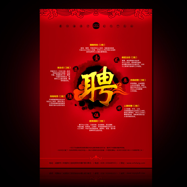 创意招聘广告 创意招聘海报 说明:中国风招聘海报psd设计模板下载