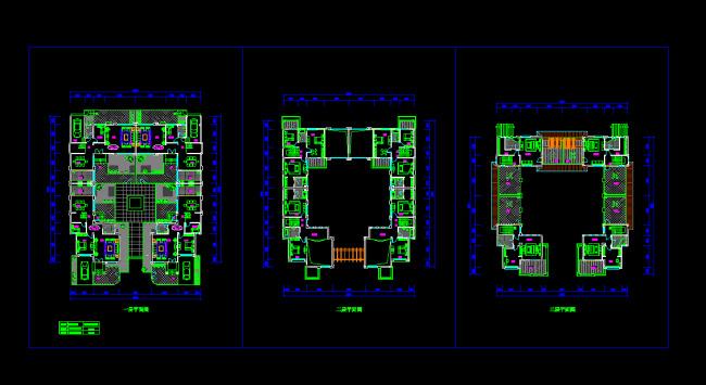 三层合院别墅建筑cad设计平面方案