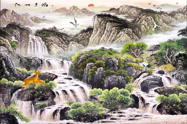关键词: 国画 山水 风景 水墨 鹿 鹤 太阳 江山多娇 流水生财 瀑布