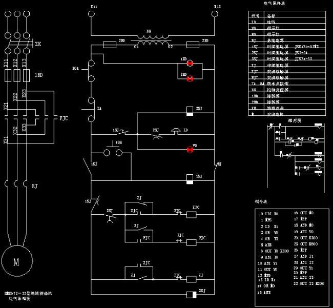 电机自动正反转控制原理图cad图纸