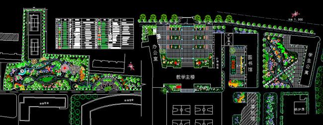 【dwg】校園廣場綠化設計平面圖
