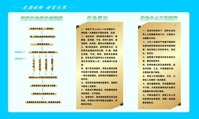 【cdr】医院 体检流程 工作制度 体检须知图片