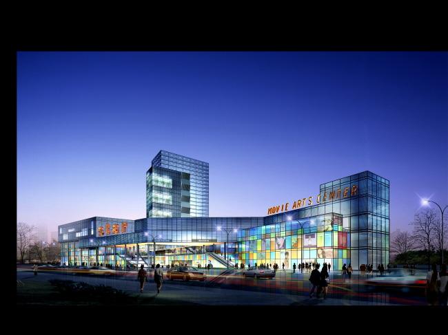 沿街商业建筑夜景亮化效果图
