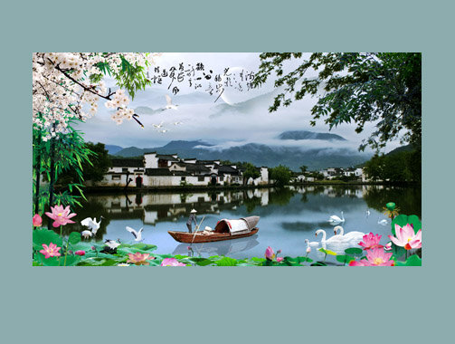 【psd】江南水乡山水风景画