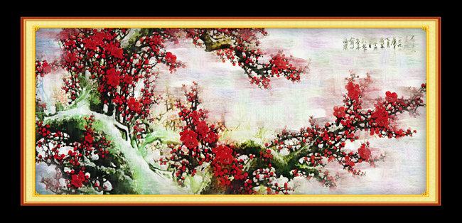 室内装饰|无框画|移门 室内装饰用图 > 梅花油画装饰图片  风景画