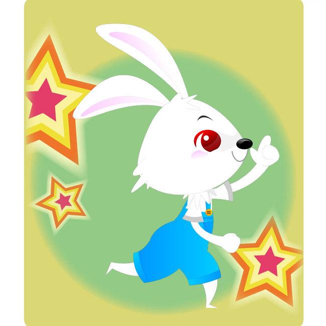 俏皮 小兔兔 抬手 指向前方 奔跑 开心 插图 插画 生肖兔子 卡通形象