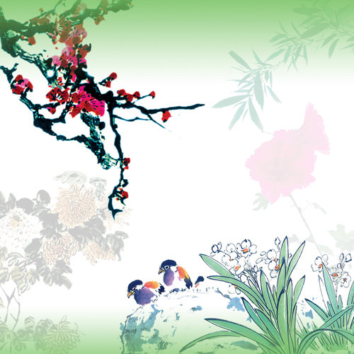 小鸟 麻雀 兰花 工笔画 水彩画 中国画 国画 菊花 竹子 竹叶 梅花